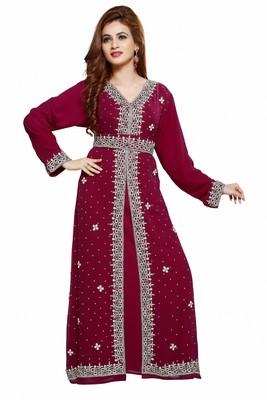 Maroon Royal  Moroccan Dubai Beautiful Zari Work Jilbab Jalabiya Kaftan Dress