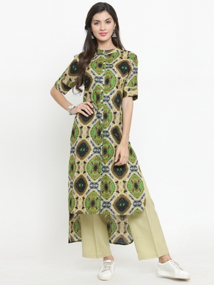 Indibelle Multicolor woven cotton kurti with trouser