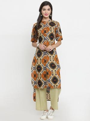 Indibelle Multicolor woven cotton kurti with trouser