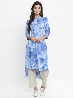 Indibelle Sky-blue woven cotton kurti with trouser