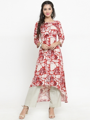 Red woven rayon kurti with trouser