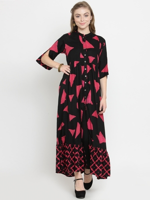 Black woven rayon kurti with trouser