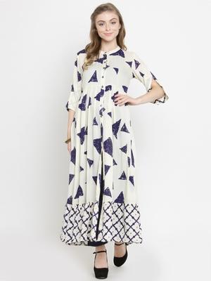 Indibelle Beige woven rayon kurti with trouser