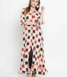 Off-white woven cotton kurti with trouser