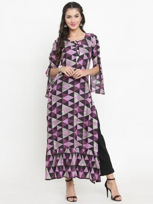 Purple woven rayon kurti with trouser