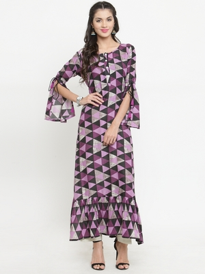 Purple woven rayon kurti with trouser