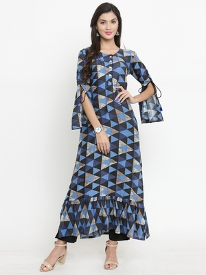 Indibelle Navy-blue woven rayon kurti with trouser
