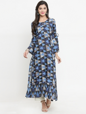 Navy-blue woven rayon kurti with trouser