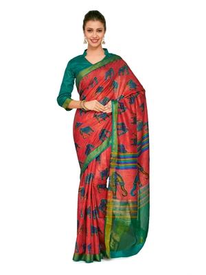 Mimosa Red Printed Raw Silk Kalamkari Saree With Blouse