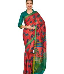 Mimosa Red Printed Raw Silk Kalamkari Saree With Blouse