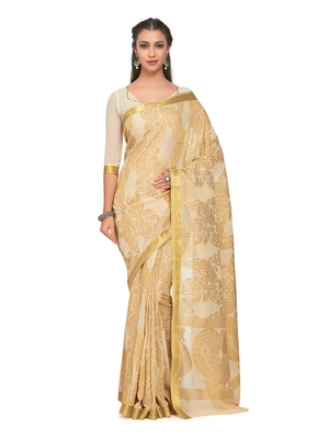 Mimosa Beige Woven Chiffon Saree With Blouse