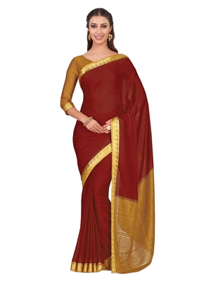 Mimosa Red Woven Crepe Saree With Blouse