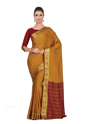 Mimosa Brown Woven Crepe Saree With Blouse