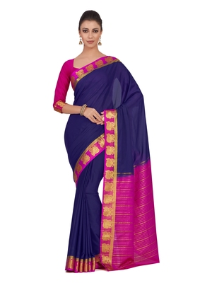 Mimosa Blue Woven Crepe Saree With Blouse