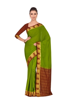Mimosa Green Woven Crepe Saree With Blouse