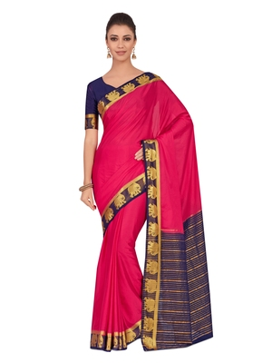 Mimosa Pink Woven Crepe Saree With Blouse