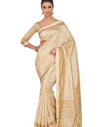 Mimosa Beige Woven Tussar Silk Saree With Blouse