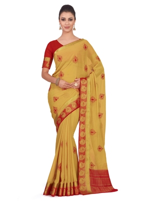 Mimosa Yellow Embroidered Chiffon Saree With Blouse