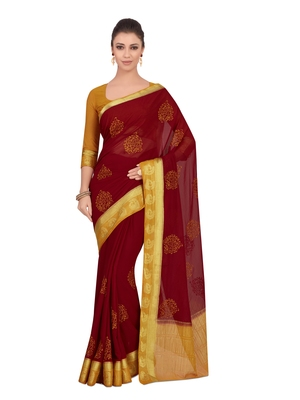 Mimosa Red Embroidered Chiffon Saree With Blouse