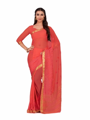 Mimosa Orange Embroidered Chiffon Saree With Blouse