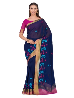 Mimosa Blue Embroidered Chiffon Saree With Blouse