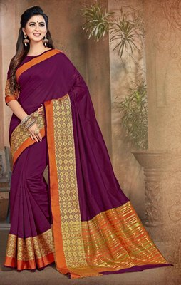 Wine woven cotton saree with blouse