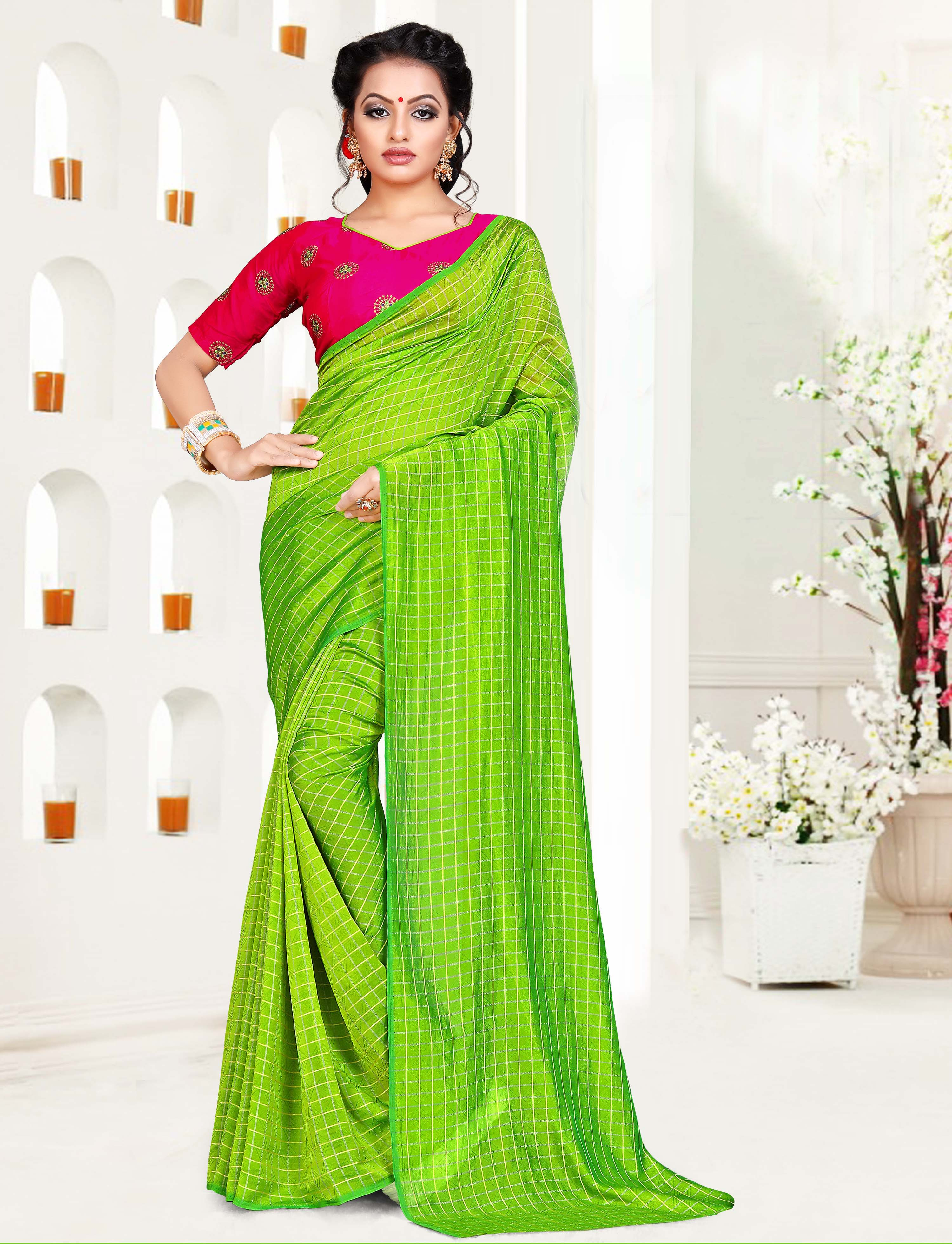 6c7fb772f Green art silk saree with blouse - Kimisha - 2734569