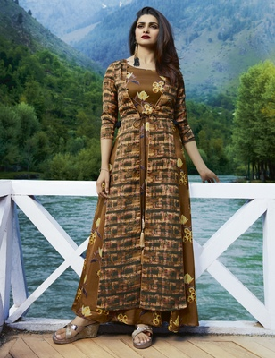 Coffee printed satin long kurtis