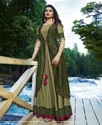 Olive printed satin long kurtis