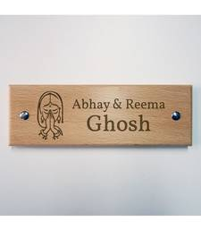 Buy Personalised Swagatam Wooden Name Plate by Engrave housewarming-gift online