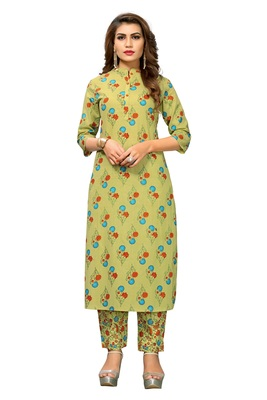 LIGHT GREEN PRINTED COTTON STITCHED KURTI