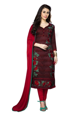 Women Maroon embroidered Pure cotton Designer salwar Suit with dupatta Dress material