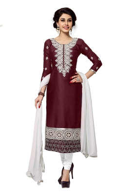 Women Maroon embroidered Pure cotton Diamond Work Designer salwar Suit with dupatta Dress material