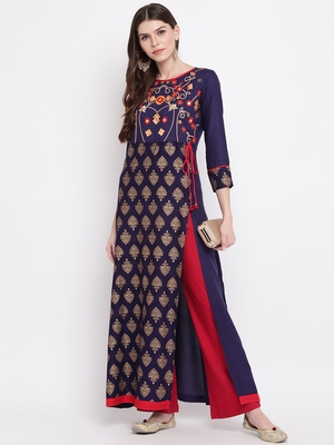 Blue embroidered rayon embroidered kurtis
