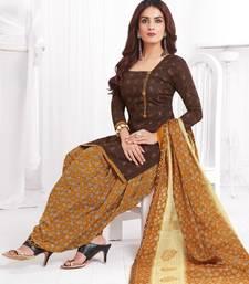 Buy Brown printed cotton unstitched salwar with dupatta multicolor-salwar-kameez online