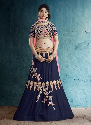 navy blue embroidered Rayon Silk designer lehenga with blouse