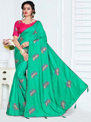 b7c566ddb40 Turquoise embroidered art silk saree with blouse - Kimisha - 2735682