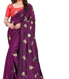 Wine embroidered Paper silk saree with blouse