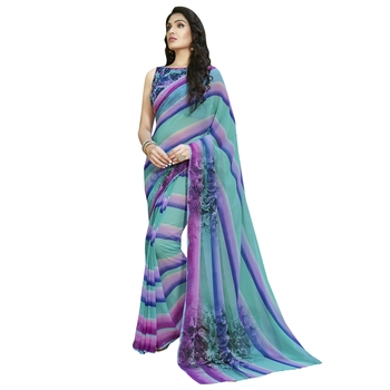 Shaily Multicolor Printed Georgette Saree With Blouse