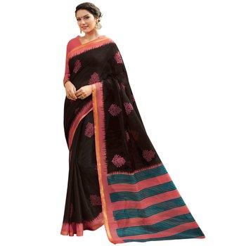 Shaily Black Printed Cotton Silk Saree With Blouse