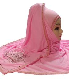 Baby Pink Color Tail Embroidery And Stone Work Hosiery Cotton Women's HeadScarf