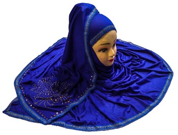 Blue Color Tail Embroidery And Stone Work Hosiery Cotton HeadScarf