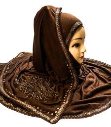 Coffee Color Tail Embroidery And Stone Work Hosiery Cotton HeadScarf