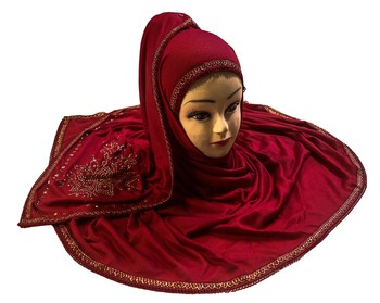 Maroon Color Tail Embroidery And Stone Work Hosiery Cotton HeadScarf