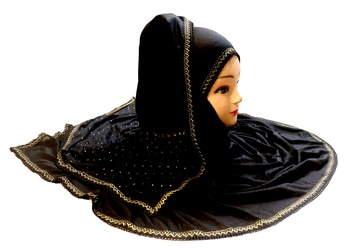 Black Color Tail Embroidery And Stone Work Hosiery Cotton HeadScarf