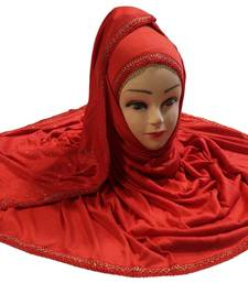 Red Color Tail Embroidery And Stone Work Hosiery Cotton HeadScarf