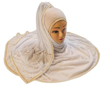 White Color Tail Embroidery And Stone Work Hosiery Cotton Headscarf