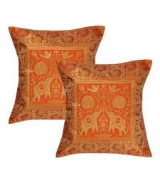 Lal Haveli Decorated Handmade Elephant Design Silk cushion Cover 16 x 16 inch Set of 2 Pcs