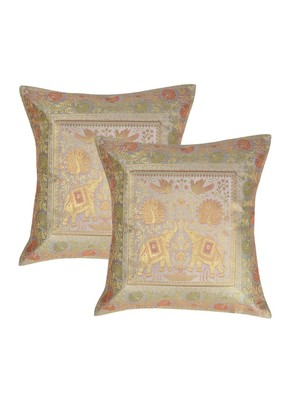 Lal Haveli Rajasthani Handmade Elephant Design Silk Pillow cushion Cover 16 x 16 inch Set of 2 Pcs