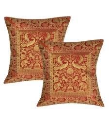 Lal Haveli Handmade Peacock & Elephant Work Design cushion Covers 16 x 16 inch Set of 2 Pcs